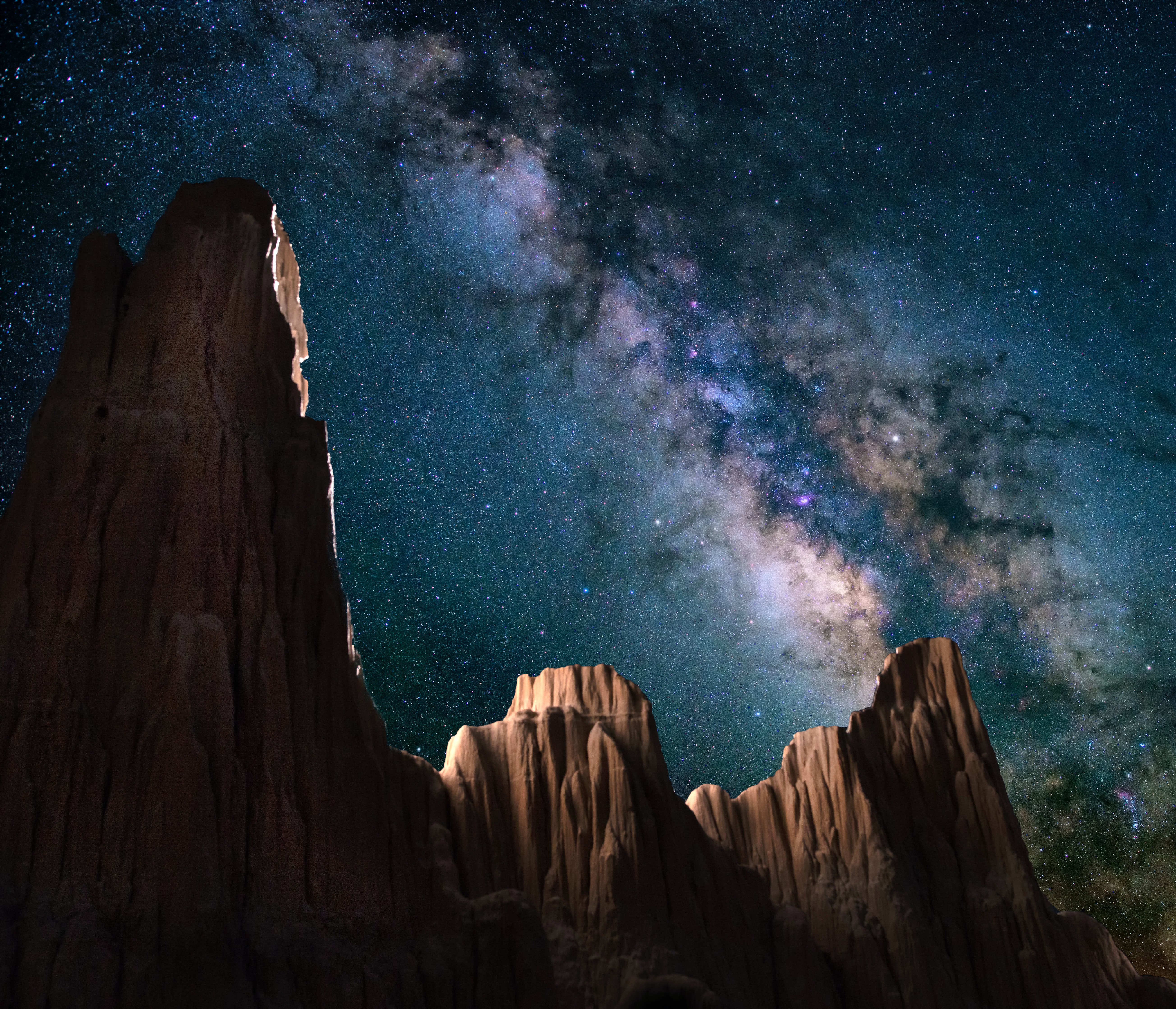 Star shot in Cathedral Valley State Park, Nevada